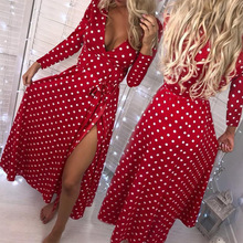 Ladies Long Dress Red White Dot Beach Maxi Women Evening Party Sundress Sleeve Vestidos De Festa New
