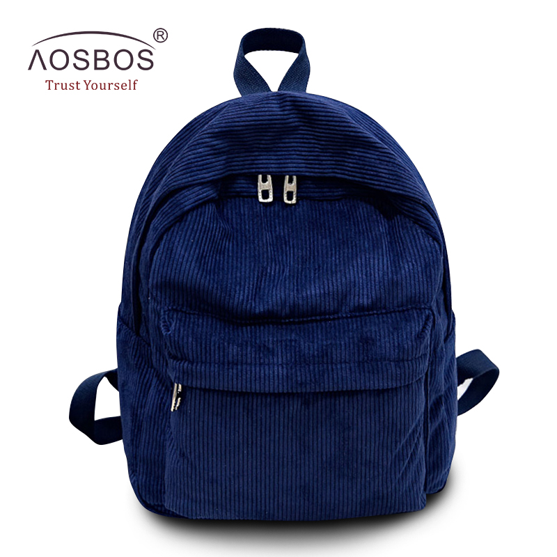 Aosbos Fashion Women Corduroy Backpack Simple Solid Tote Bags High Quality School Backpacks for Teenager Girls Students Mochila aosbos fashion portable insulated canvas lunch bag thermal food picnic lunch bags for women kids men cooler lunch box bag tote