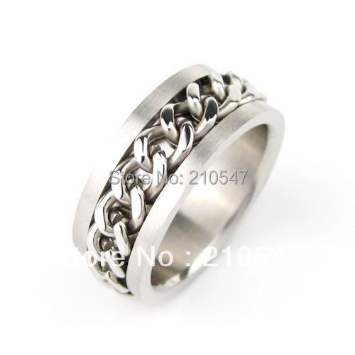 Wholesale  36Pcs 316L Stainless Steel Men's rotatable chain finger Rings jewelry  biker's rings JZ002