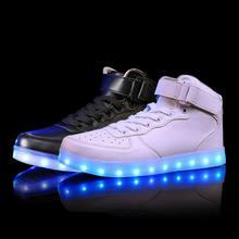 2017 New Kids Мальчики Девочки USB Зарядное Устройство Led Light Shoes High топ Светящиеся Кроссовки повседневная Зашнуровать Shoes Unisex Спорт для детей