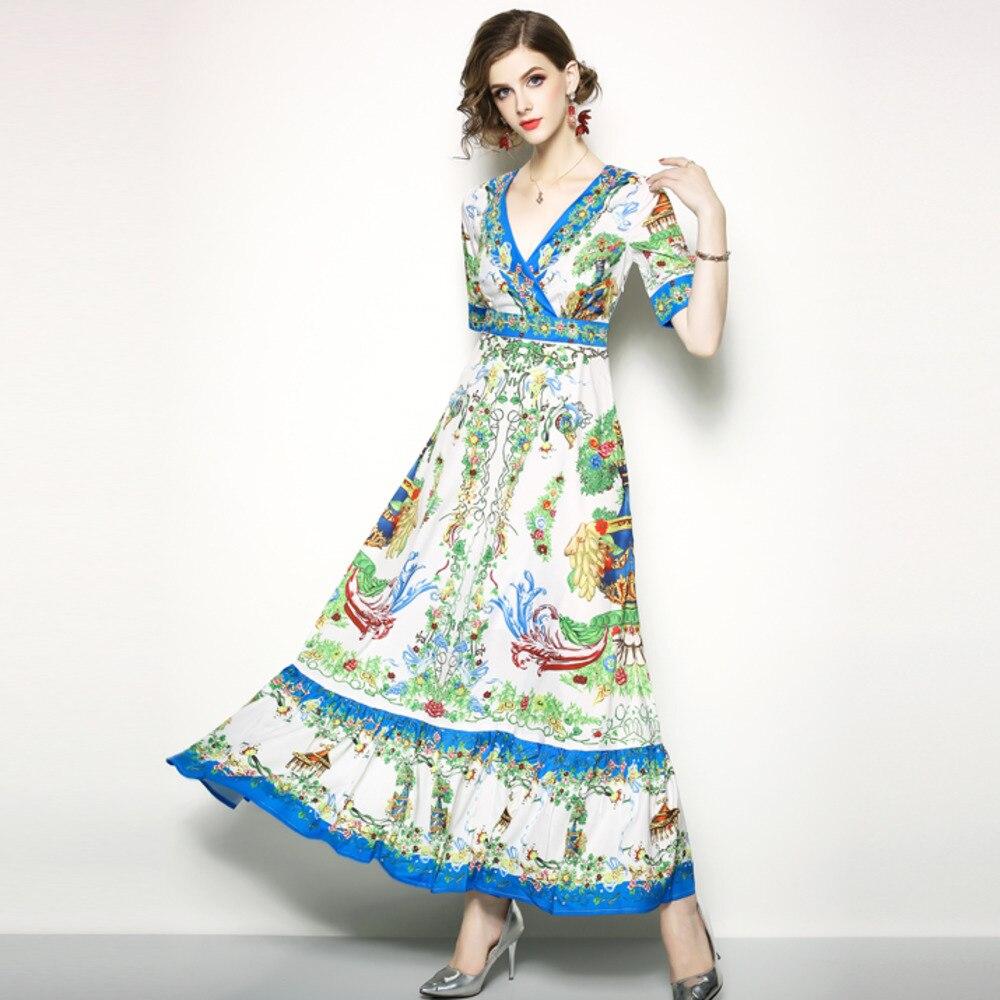 Us 2399 40 Offrunway Dress Floral Vase Women Vestidos Playa Verano 2018 Vestiti Lunghi Estivi Summer Autumn Long Dresses Shirt Chic Maxi Dress In