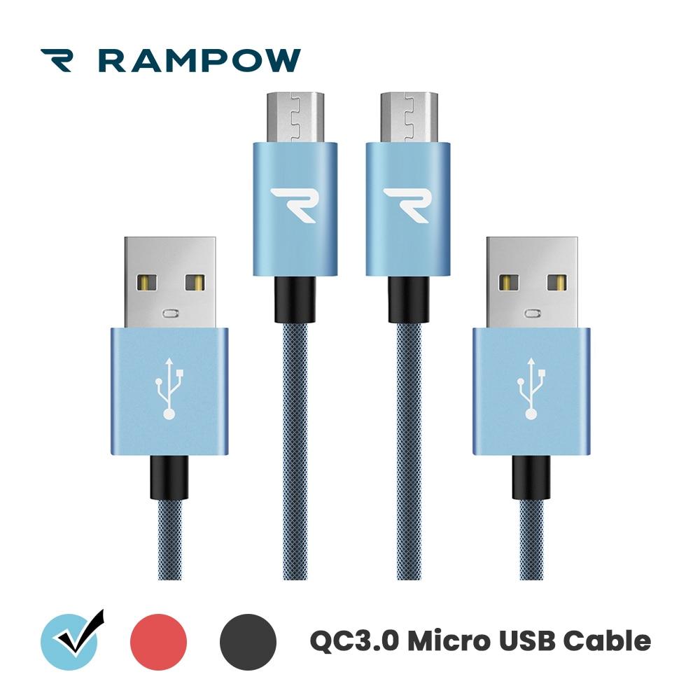 Qc3.0 Schnelle Lade Usb Kabel Für Xiaomi Redmi 5- lebenslange Garantie Rampow Micro Usb Kabel Für Samsung S7/s6 Bescheiden GläNzend 2 Teile/paket