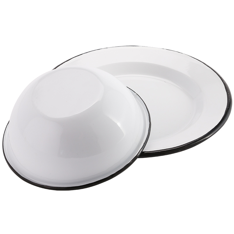 22cm 24cm 26cm Retro Finishing Serving Tray Enamel Round Plate Enamel Tray Home Retro Dishes Baked Rice Grill Plate Dinnerware in Dishes Plates from Home Garden