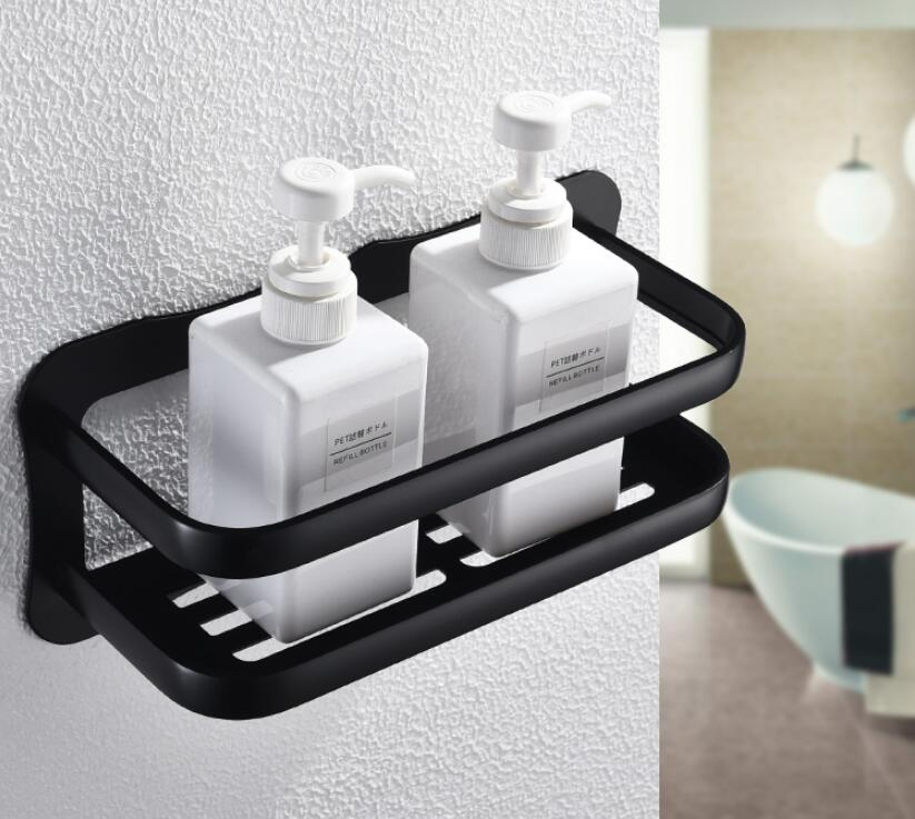 Wall Mounted Black Aluminum Allory Bathroom Soap Dish Bath Shower Shelf Bath Shampoo Holder Basket Holder Corner shelf
