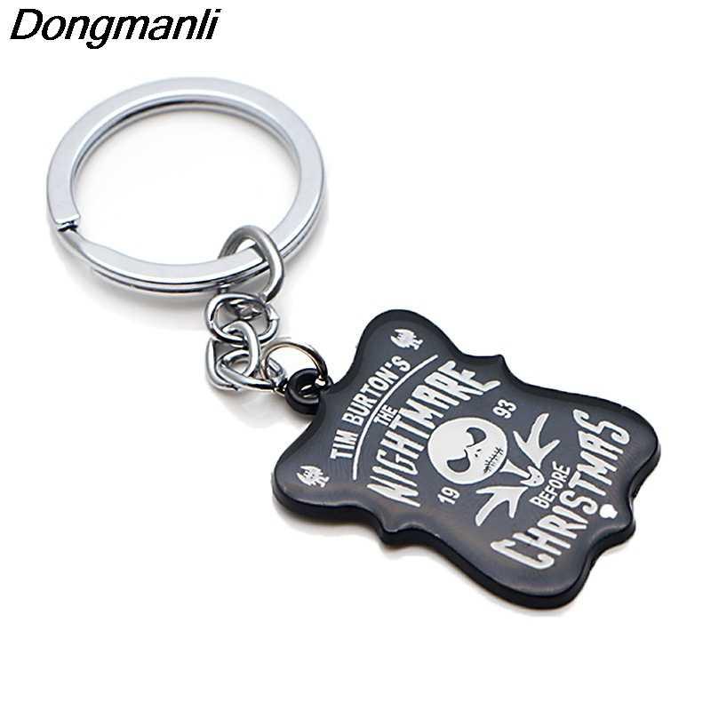P3795 Dongmanli The Nightmare Before Chave Natal Titular Bonito Presentes Anéis de Esmalte de Metal Pingente Chaveiro Para Chave Do Carro