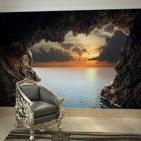 Beibehang Groothandel Cave Ocean View Landschap Lanscape 3d Grote Maat Muurschildering Vinyl Behang voor TV Sofa Achtergrond 3d Photo