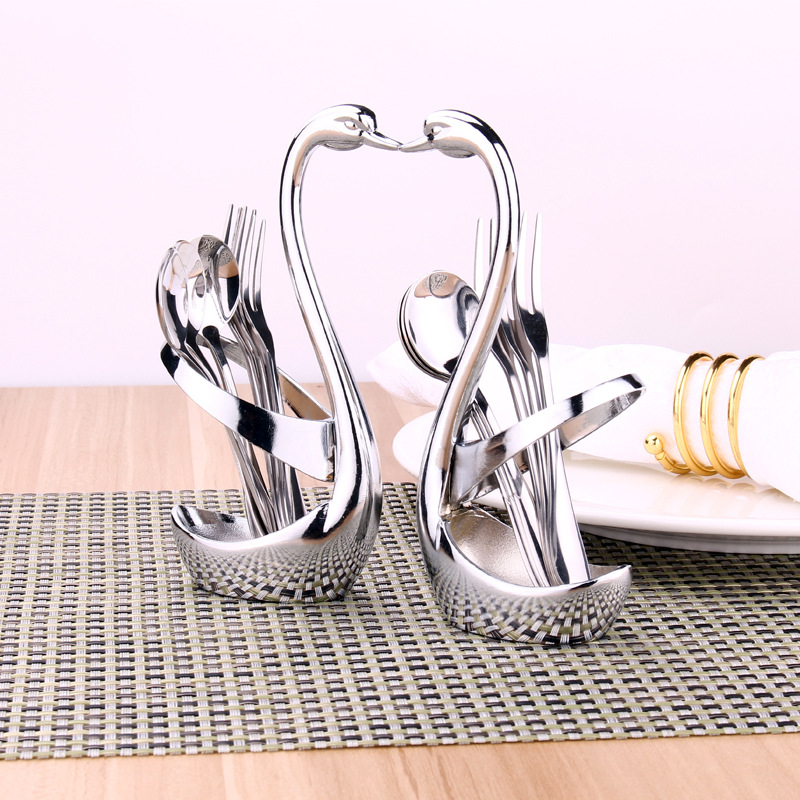 Buy Swan Dinnerware Spoon Fork Holder Flatware Sets Kitchen Decorate Fruit