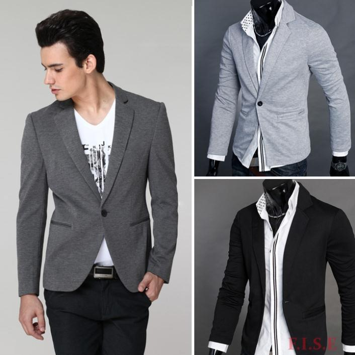 Casual Blazer Men Slim Fit One Button Formal Black One Button ...