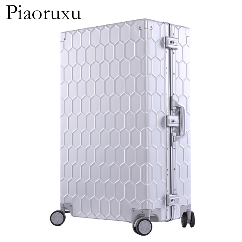 20 26 29 100 Aluminum Magnesium Alloy Rolling Luggage Mens Business Trolley Suitcase Full Metal Travel