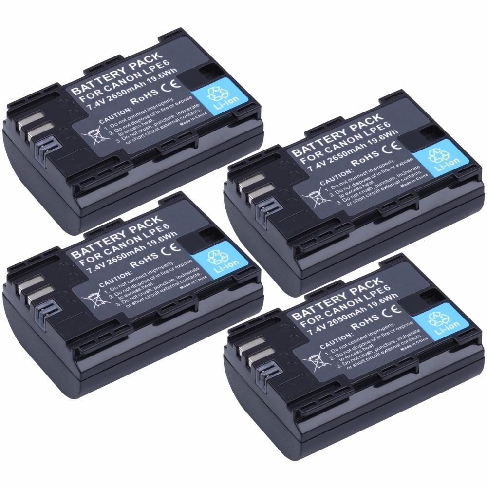 4Pcs Probty LP E6 LP E6 LP E6N Battery for Canon EOS 5D Mark II III
