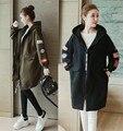 Новое поступление зимней одежды и Добавить шерсть утолщение большой размер дамы женщины длинные руно беременных женщин с капюшоном пальто куртки