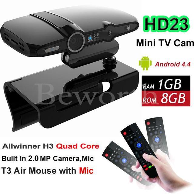 H3 Câmera de CAIXA de TV Android Allwinner Quad Core 1G 8G HD23 EU3000 inteligente Mini PC WIFI Google IPTV XBMC Skype VS A95X M8S Plus X96