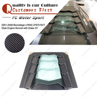 Car Accessories Full Carbon Fiber Engine Hood Fit For 2001 2008 Murcielago LP640 LP670 RVT Style Rear Engine Bonnet with Glass