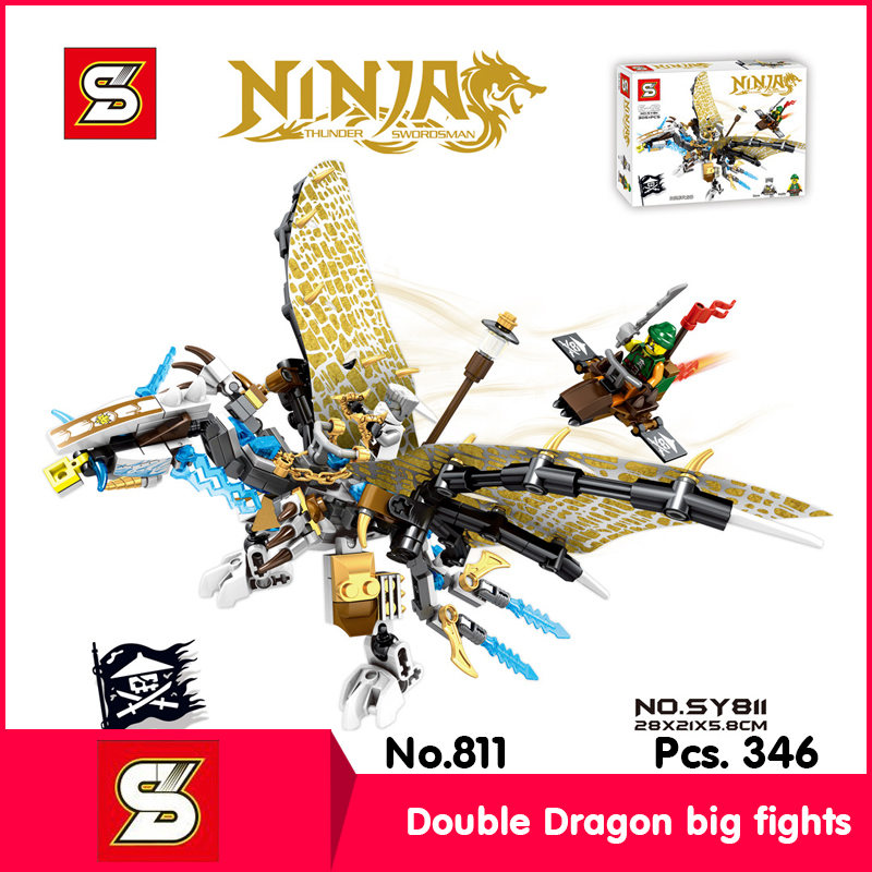 SY SY811 346Pcs Ninja Series white Dragon Big fights Model Building Blocks Set Bricks Toy With Children Toys Add Gift  цены