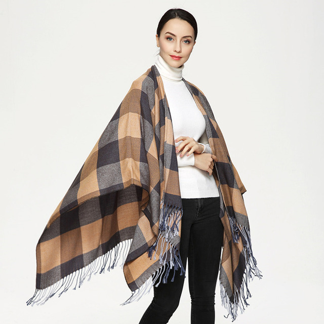 2017 New Winter Scarf Women Cashmere Feel Poncho Cape Warm Scarves British Style Grid Plaid Big Shawl PJ005