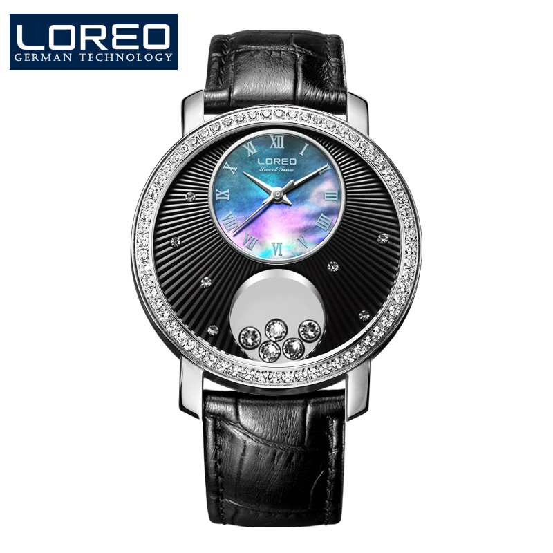 Rich simple sense LOREO Brand female quartz watch waterproof sapphire glass mirror diamond decorate fashion leather ladies watch sense and sensibility