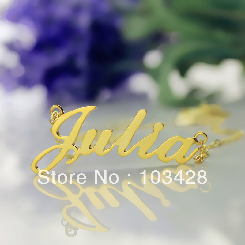 AILIN Freeshipping--Nameplate Necklace JULIA Style Gold Color Over Silver Name Necklace Initial Necklace Personalized Jewelry beurself oversized capital initial necklace custom name large 26 letters alphabet punk style gold color alloy jewelry for women