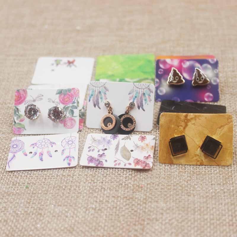 200pcs/lot 3.5*2.5cm Flower Paper Earrings Card Hooks Earring Packaging Display Cards Rectanglar Marbel Design Jewelry Cards