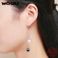 WOSTU Fashion New 925 Sterling Silver Double Ball Long Tassel Drop Earrings For Women Fashion Silver