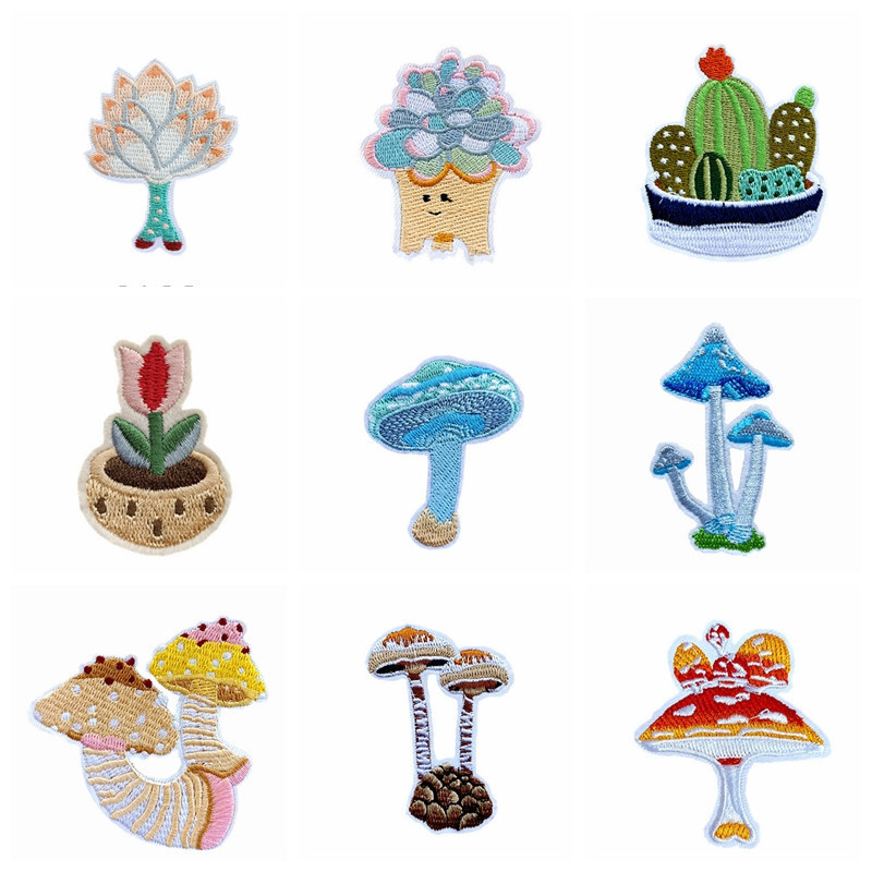 Exquisite Wholesale Cactus Color Mushroom Embroidery Patches For