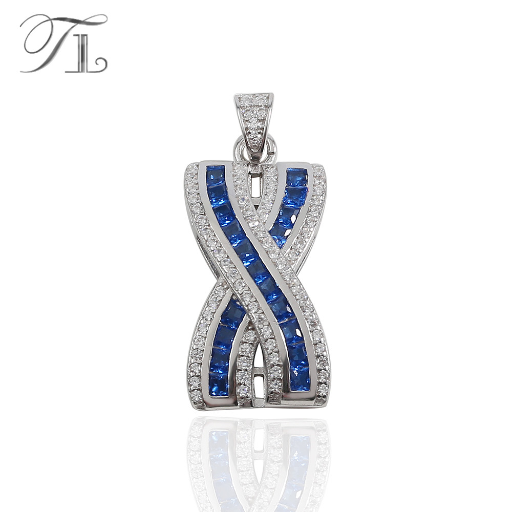 TL Ocean Blue 925 Sterling Silver Jewelry Pendants Unique Design Zircon Pendant Without Chain S925 Silver Pendant For Women