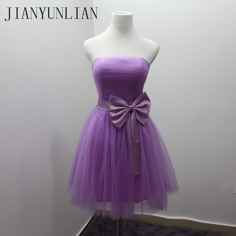 Light Purple Short   Bridesmaid     Dress   With Bow Strapless Pleated Simple Tull Wedding Party   Dress   Real Image