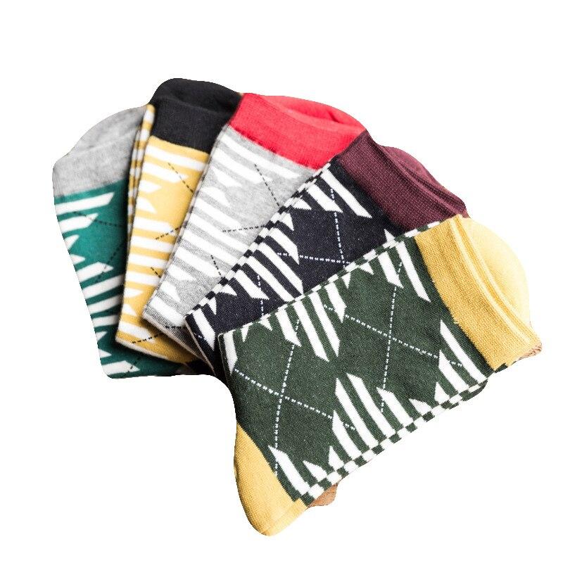Men Socks Classic Stripe Lingge Design Casual Cartoon Cotton Socks Tube Sox Hot Sale Funny Happy Socks
