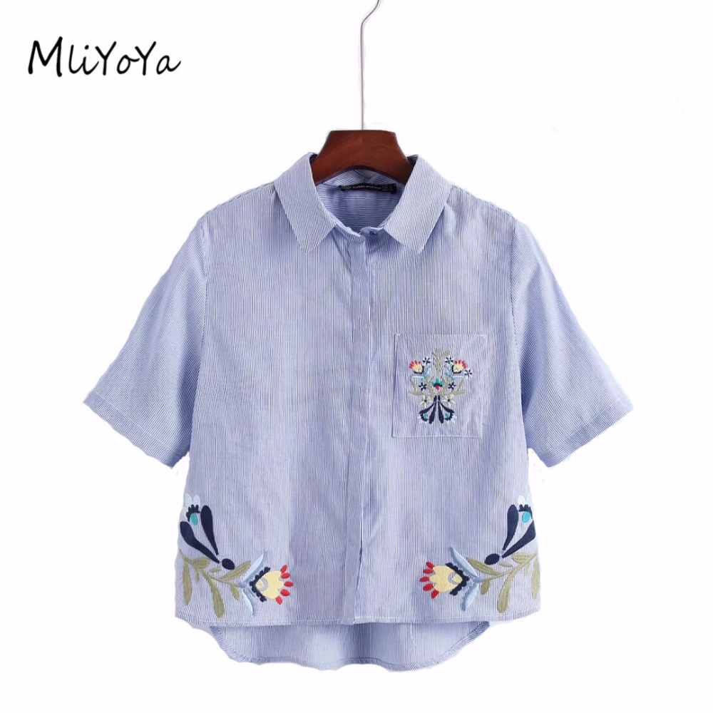 Mliyoya Store MLIYOYA Women Sexy Flower Embroidery Shirts Short Sleeve Elegant Striped Shirt Ladies Sweet Summer Turn-down Collar Tops Blouse