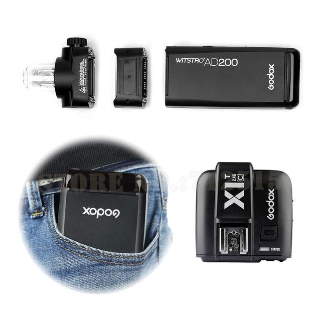 For Cannon GODOX-AD200-TTL-2-4G-HSS-1-8000s-Pocket-Flash-Light-Double-Head-200Ws-with-2900mAh