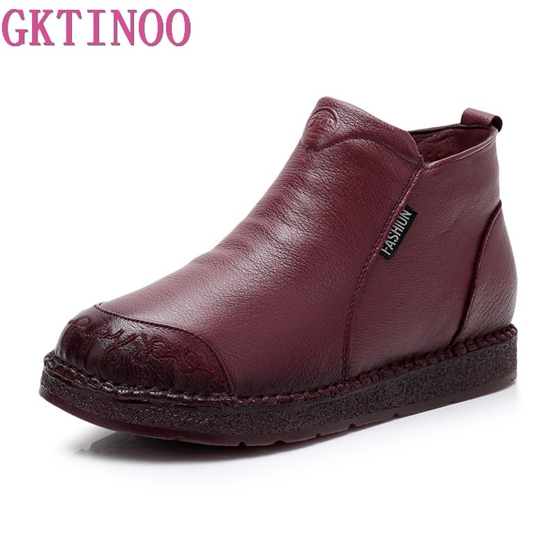 GKTINOO Winter Boots Women Genuine Leather Ankle Boots Plush Inside Handmade Lady Soft Flat Shoes Retro Martin Boots for Women beyarne 2018 women s ankle boots autumn winter soft handmade retro martin boots flat shoes 100