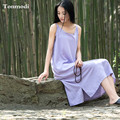 New Cotton Linen Dress Thin Loose Sleepwear Lounge Nightgown Strap One-piece  Night dress plus size