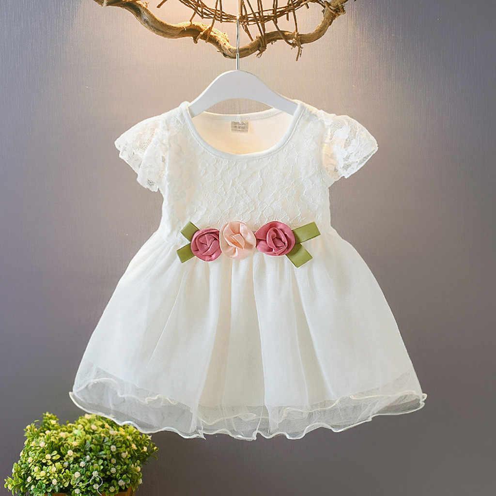2019 קיץ פעוט תינוק ילדי ילדה Ruched תחרה פרחוני טול המפלגה WeddingDresses תלבושות בגדים