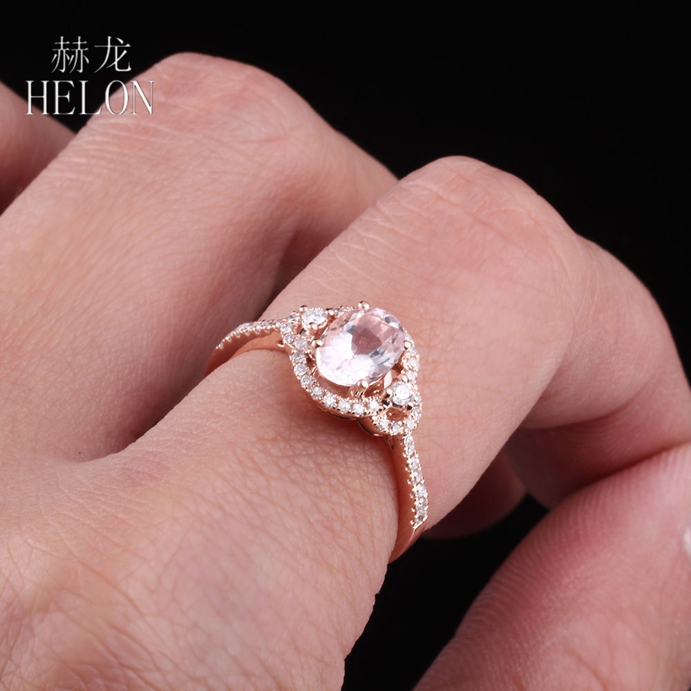 HELON Solid 14K Rose Gold Pink Morganite Ring Oval Cut 5x7mm Pave ...