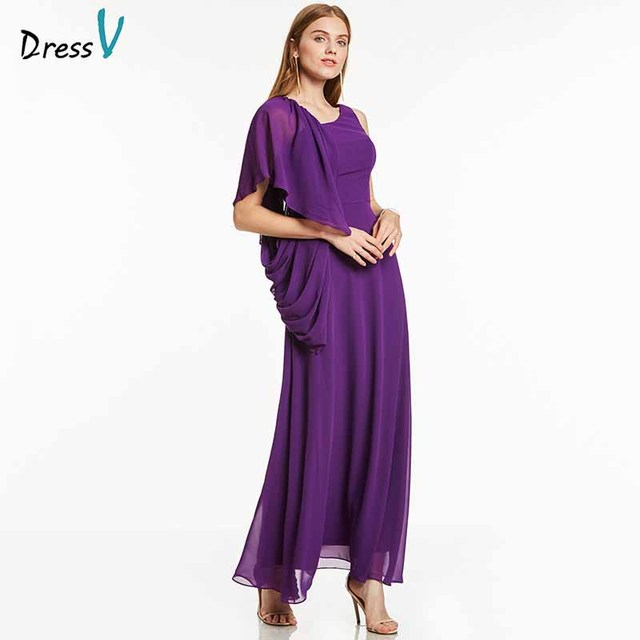 Dressv фиолетовое вечернее платье Дешевые рукавов линии драпированные ботильоны Длина Свадебная вечеринка торжественное платье цветок вечернее es