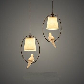 Pastoral style pendant lights personalized resin bird restaurant bedroom white cloth lampshade restaurant corridor lamps ZA