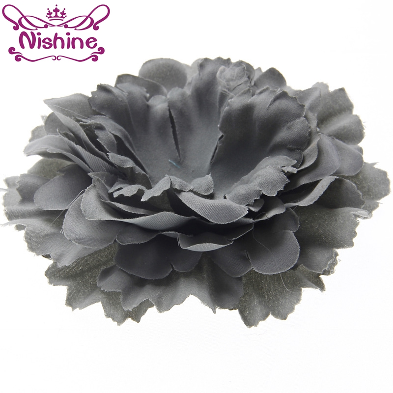 Nishine 100pcs/lot 4.8 Chic Peony Flower For DIY Hair Accessories Artificial Fabric Flowers For Girls Headband Hairpins