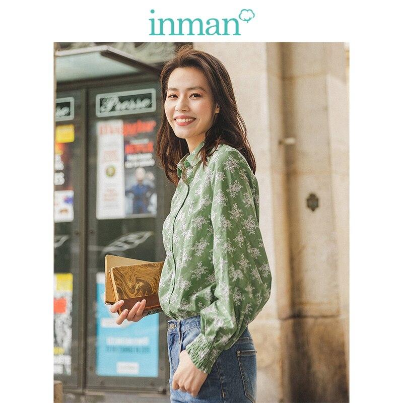 INMAN Spring Autumn Turn Down Collar Fashion Retro Bishop Print Long Sleeve All Matched Women Blouse