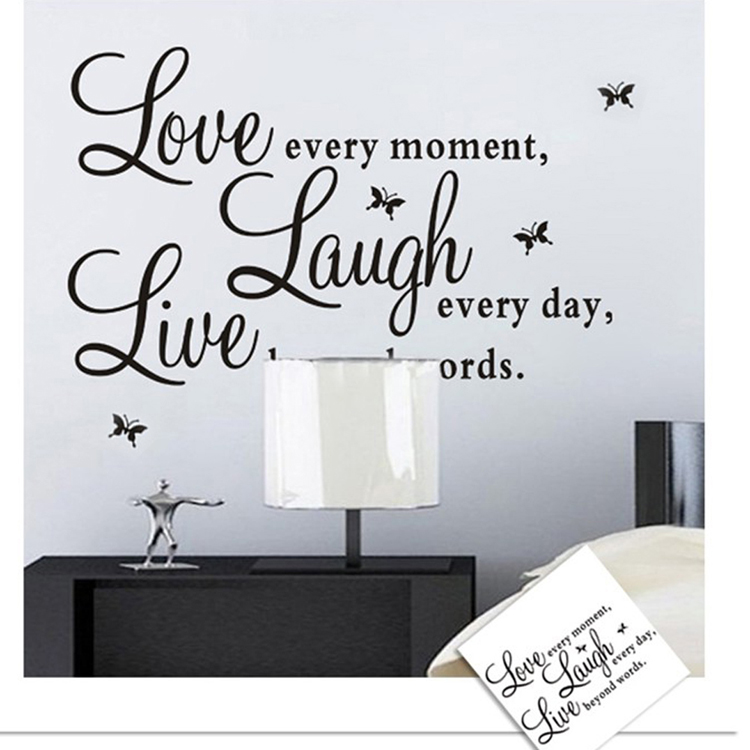 New sales promotion live love laugh letters transparent waterproof vinyl wall quotes decal pvc home decor wall stickers in wall stickers from home garden