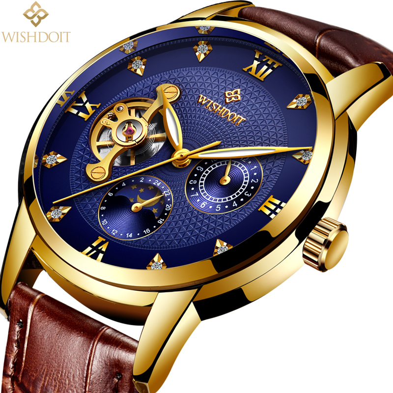2018 WISHDOIT Top Brand Luxury Mechanical Watches Water Wristwatch Business Automatic Skeleton Watch Men Relojes Hombre Clock in Mechanical Watches from Watches