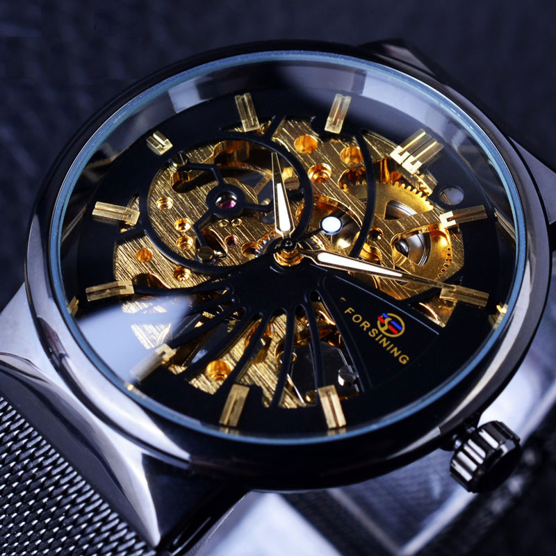 купить Mechanical Luxury Watch Men Brand Relogio Masculino Stainless Steel Mesh Belt Business Uhren Skeleton Watch по цене 1461.33 рублей