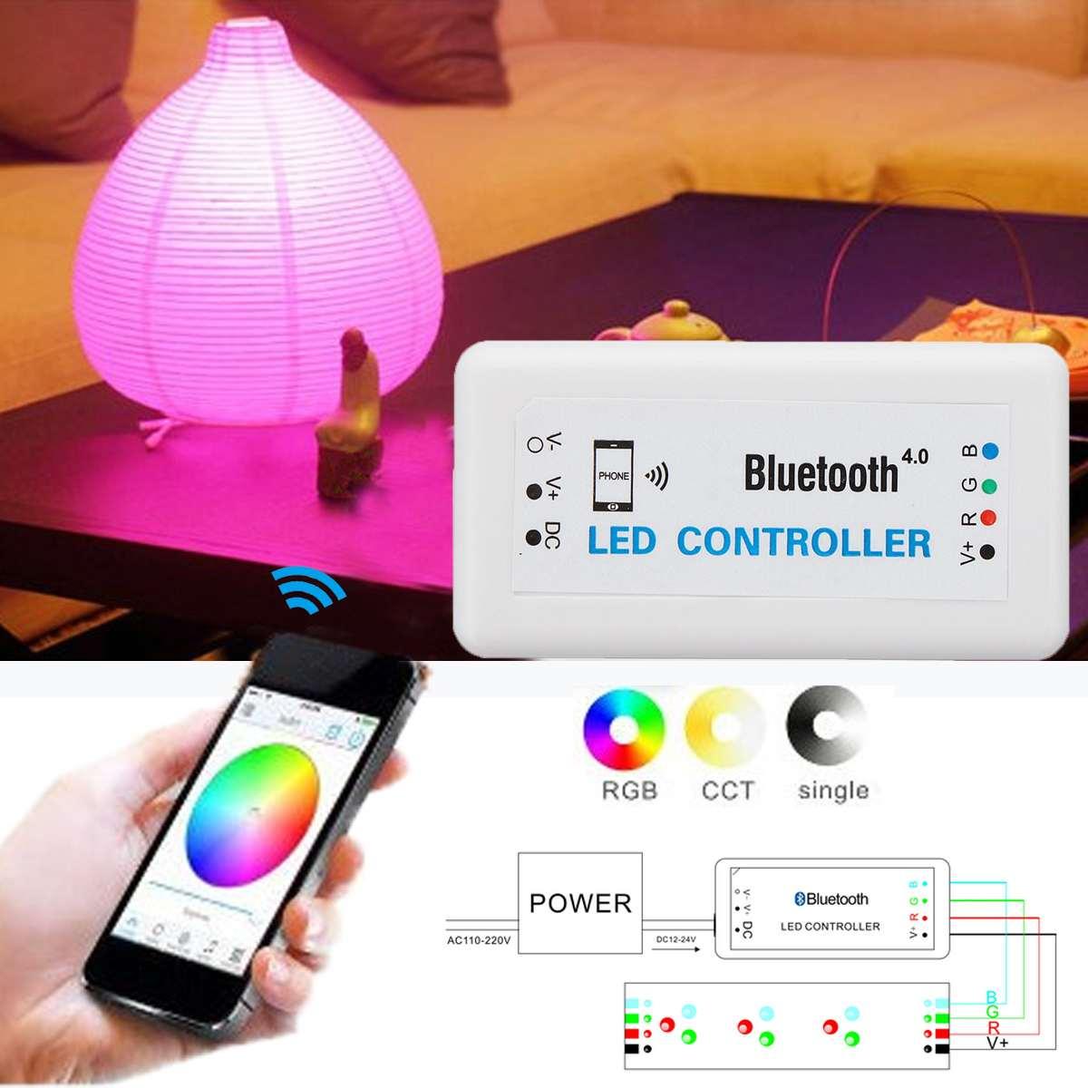 Contrôleur rvb bluetooth contrôleur RGB LED à changement de couleur télécommande pour téléphone portable iOS Android