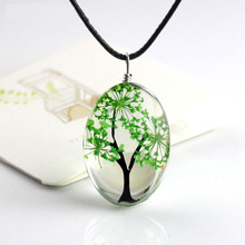 H:HYDE New Arrival 6 Colors Tree Of Life Oval Shape Pendant Necklaces Handmade Glass Plant Necklace For Women Fashion Jewelry