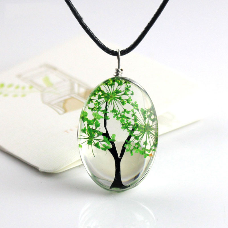 H:HYDE New Arrival 6 Colors Tree Of Life Oval Shape Pendant