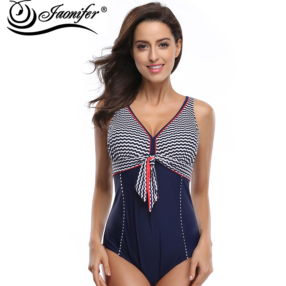 JAONIFER One Piece Swimsuit Plus Size Swimwear Women Swimming Suit Backless Body Suit Beach Wear Patchwork Monokini Swimwear slim backless falbala patchwork blouse