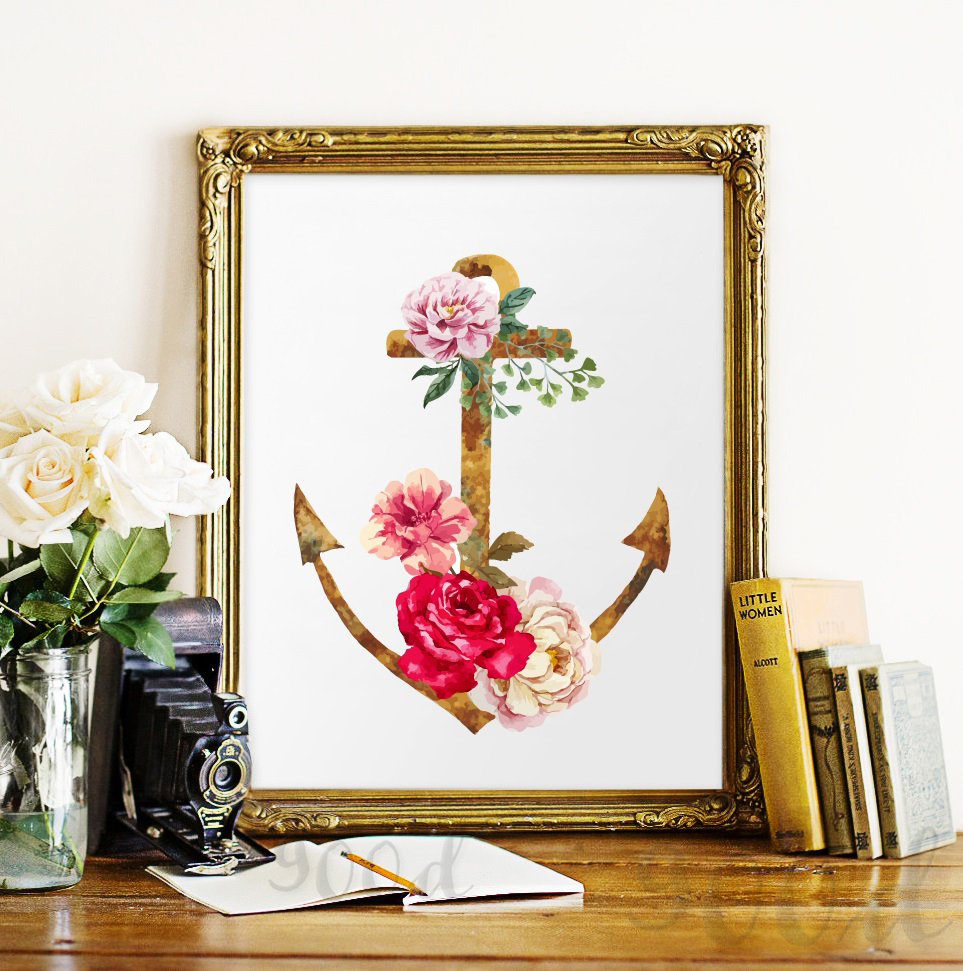 Buy vintage flower anchor canvas art for Where to buy canvas art