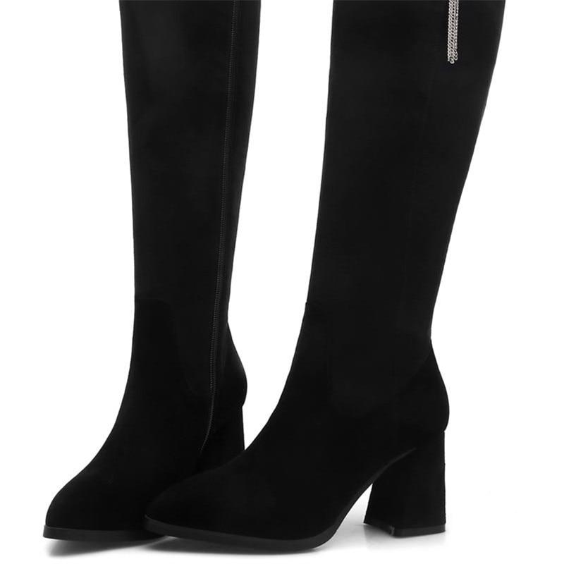 Cuir Bottes Troupeau Pointu Black En Suédé Talons Bout Chaussures Hiver Chaud Bas Memunia Zipper Automne Femme Femmes Haute Genou 2018 CPXxSEqwO