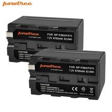 NP-F960 Powtree Para Sony 2 pcs 7.2 v 8700 mah Substituição Bateria Recarregável 198 p F950 MC1000C TR516 TR555 DCR-VX2100E UM FX1000