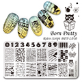 1Pc BORN PRETTY  12*6cm Retro Script Rectangle Manicure Nail Stamping Template Nail Art Image Plate BPX-L010