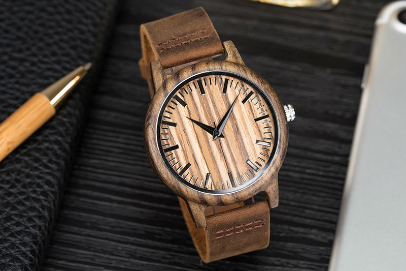 SIHAIXIN Man Watches Classic Luxury Leather Straps Quartz Male Clock Engraved With Personal Text Wood Wristwatch Gift For Him 11