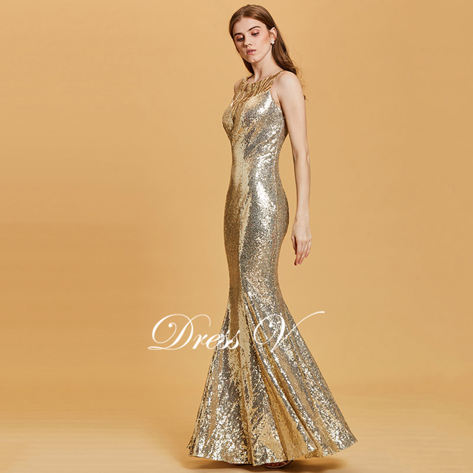 f263413ffbc4 Dressv daffodil long evening dress cheap scoop neck sequins mermaid wedding  party formal dress trumpet evening dresses